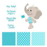 Baby elephant blue design with seamless patterns Royalty Free Stock Photo