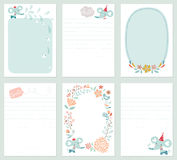Baby Elephant Cards. Set of 6 creative journaling cards with floral wreath, baby elephant, decorative flowers, bird, fish and lettering. Template for Stock Images