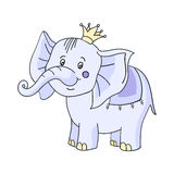 Baby elephant cartoon. Cute cartoon baby elephant with yellow crown.The  image on a white background.Vector illustration of animals for children Royalty Free Stock Photos