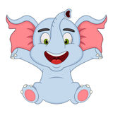 Baby elephant cartoon. Full color Royalty Free Stock Images