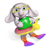 Baby elephant cartoon with lifeline and flippers, 3d rendering Stock Photo