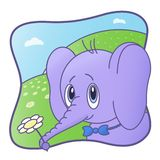 Baby elephant with flower and bow tie. character, cartoon vector illustration