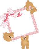 Baby elephant holding pink frame and ribbon Stock Images