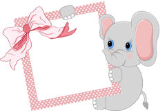 Baby elephant holding pink frame and ribbon Royalty Free Stock Photos