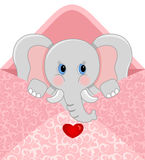 Baby elephant inside love envelope. Scalable vectorial image representing a baby elephant inside love envelope, isolated on white Stock Photography
