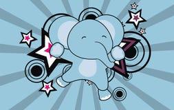 Baby elephant jumping cartoon background Royalty Free Stock Image