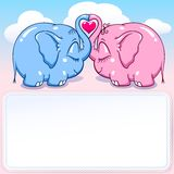Baby elephant in love banner. Two lovers elephants on the cloud soar to the heights format Stock Illustration