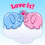 Baby elephant in love on the cloud. Two lovers elephants on the cloud soar to the heights format Vector Illustration