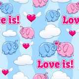 Baby elephant in love pattern Stock Photography