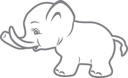 Baby elephant. Outline drawing Stock Image