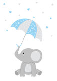 Baby Elephant - Pink Baby Shower. Baby Shower illustration of a baby elephant with a pink umbrella and falling hearts stock illustration