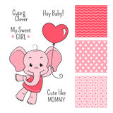 Baby elephant pink design with seamless patterns. Baby elephant pink design set with seamless patterns Stock Image
