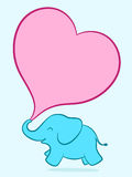 Baby elephant with pink heart Stock Photography