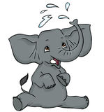Baby elephant splashing water. Cute baby elephant sitting down and splashing water with its trunk Stock Image