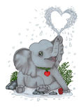 Baby elephant sprinkles drops of joy and happiness. Baby elephant sitting, spraying heart-shaped water Royalty Free Stock Photography