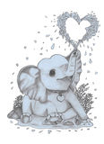 Baby elephant sprinkles drops of joy and happiness. Small elephant sitting, spraying heart-shaped water Royalty Free Stock Photos