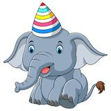 Baby elephant using hat party cartoon royalty free illustration