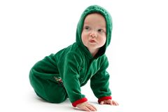Baby in elf-costume Royalty Free Stock Photos