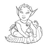 Baby elf line art stock photos