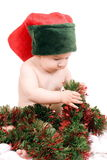 Baby-Elves. With red Christmas hat Stock Photo