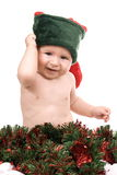 Baby-Elves. With red Christmas hat royalty free stock photos