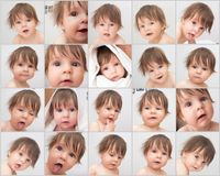 Baby - emotion face. Emotion face of cute baby. Portraits set Stock Photos