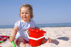 Baby en beach6 Stock Foto's
