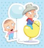 Baby en cowboy Gelukkige kinderjaren van jonge geitjes Grappige stickers Royalty-vrije Stock Fotografie