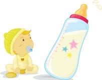 Baby en fles Royalty-vrije Stock Fotografie