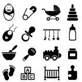 Baby en geboortepictogrammen Stock Afbeeldingen