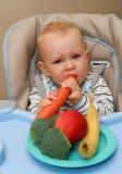 Baby en gezond voedsel Stock Afbeeldingen