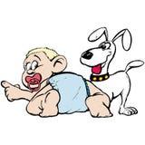 Baby en hond vector illustratie