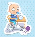 Baby en kat Gelukkige kinderjaren van jonge geitjes Grappige stickers Stock Foto's