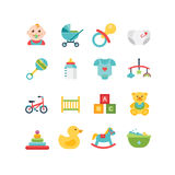 Baby en kind verwante pictogrammen, illustraties Stock Afbeelding