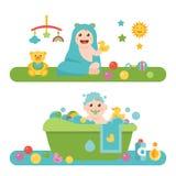 Baby en kind verwante pictogrammen, illustraties Stock Foto's