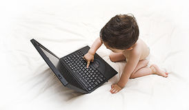 Baby en laptop Royalty-vrije Stock Foto