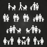 Baby en ouders het ontwerp van overzichtspictogrammen - witte familiepictogrammen royalty-vrije illustratie