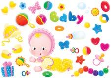 Baby en speelgoed royalty-vrije illustratie