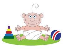 Baby en speelgoed Stock Foto