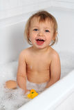 Baby enjoy a bubble bath Royalty Free Stock Photography