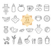 Baby Equipment. Set of Line Icons: Toys, Food, Eat, Crockery. Stock Images