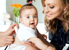 Baby examination mother Royalty Free Stock Images