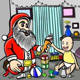 Baby excited while seeing Santa claus giving ice cream to him