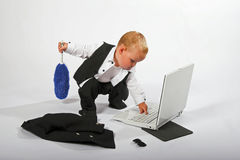 Baby executive cleaning up
