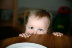 Baby with expressive eyes Royalty Free Stock Photography