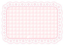 baby eyelet lace mat pink place quilted 库存图片