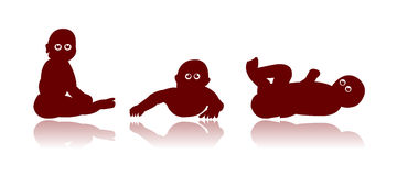 Baby eyes. Baby silhouettes with big bright eyes Royalty Free Stock Photo