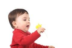 Baby förbluffade med en blomma Royaltyfri Bild