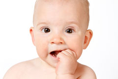 Baby face, close-up Stock Photos