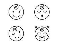 Baby face and emotions flat lines icons. A collection of baby face and emotions in the style of flat lines icons Stock Photos